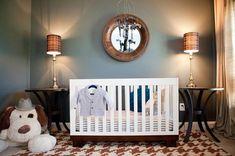 Houndstooth rug, Babyletto Modo crib in white/espresso, bowtie mobile ... so masculine yet inviting!