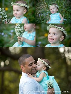 Brisbane Baby, Children & Family Portrait Photography ~ Peas & Carrots Photography.  Award winning children's photographer Nikki Joyner AIPP & WPPI accredited.  Daddy and Daughter photos, baby girl aqua blue princess ballerina dress and fresh flower crown headpiece.  Baby girl and duckling sitting under the trees together in a canopy tent. Styled children's portrait session photoshoot.  www.peasandcarrots.com.au
