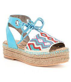 Sam Edelman Neera Leather Beaded Ankle Tie Platform Espadrille Sandals #Dillards