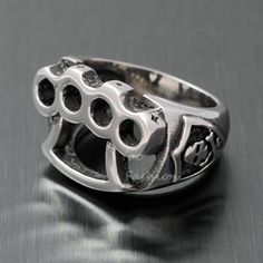 Disciplined Huge Heavy Chunky Gothic Biker Multi Skull 925 Sterling Solid Silver Mens Ring Rings