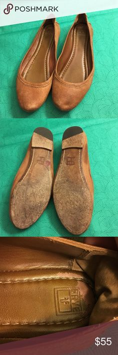 Tan Frye flats Bought these on posh wore once and realized I need another size up. Would like to sell these and get a pair in my size. They are a size 8.5. Some ware but still in great condition with lots of life left. Frye Shoes Flats & Loafers