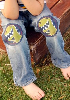 Green T-Rex Applique Iron On Knee Patch For Children
