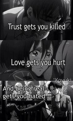 Shingeki No Kyojin // Attack on Titan & Anime Quotes The post Shingeki No Kyojin // Attack on Titan Angst Quotes, Mood Quotes, True Quotes, Tokyo Ghoul Quotes, Sad Anime Quotes, Dark Quotes, Les Sentiments, Attack On Titan Anime, Badass Quotes