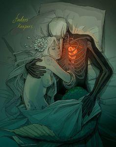 love creepy sleep Cuddle heart skull skeleton mermaid Macabre crow dark art Chiara Bautista creepy beautiful