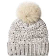 Woolrich Wool Hat ($99) ❤ liked on Polyvore featuring accessories, hats, beanie, accessories - hats, none, woolrich hats, wool beanie hat, pompom hat, woolen hat and gray hat