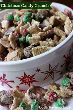 Perfect treat in under 15 minutes! Christmas Candy Crunch makes a perfect gift for the teachers, neighbors or as a take home treat for guests. Recipe on HoosierHomemade.com