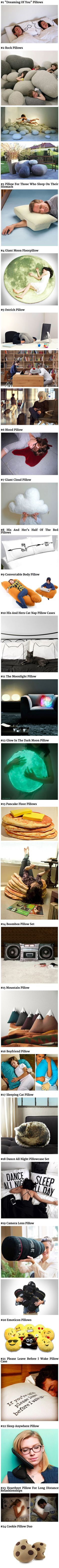 Here are some cool, funny and creative pillow designs that think outside the box. I want number 23, that would be just sooooo cool!!!!