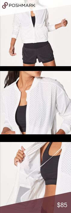 Lululemon Final Lap Jacket Slip into this fully perforated jacket during early morning or summer evening runs for coverage without compromising on ventilation. Fabric is four-way stretch, sweat-wicking, and quick-dry four-way stretch sweat-wicking quick-dry lululemon athletica Jackets & Coats