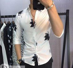 One word -wow Indian Men Fashion, Mens Fashion Wear, Big Men Fashion, Slim Fit Casual Shirts, Stylish Shirts, Floral Shirt Outfit, Formal Men Outfit, Mens Designer Shirts, Style Masculin