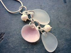 Sea Glass Necklace Pink Sea Shell Pearls by TheMysticMermaid