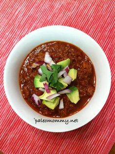 Paleo Spicy Slow Cooker Chorizo Chili plus 24 more of the best Paleo chili recipes Crock Pot Recipes, Chili Recipes, Paleo Recipes, Real Food Recipes, Cooking Recipes, Paleo Meals, Sausage Recipes, Paleo Soup, Dinner Ideas