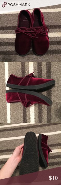 Wine colored velvet slip ons Not sure of brand, but super cute and comfortable velvet sneaks. Wine colored with no flaws! Urban Outfitters Shoes Sneakers