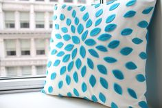 Flower Pillow in Turquoise by HoneyPieDesign on Etsy