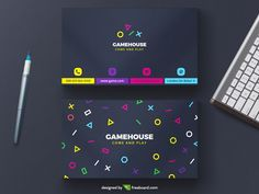 Download this cool Minimal video gaming free business card psd template, with various bright colorful console controller button shapes, that stand out from the dark background.