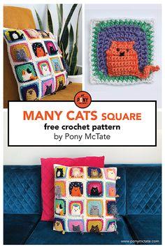 Many Cats square // free crochet pattern Gato Crochet, Crochet Cat Pattern, Crochet Square Patterns, Crochet Blanket Patterns, Crochet Stitches, Crochet Abbreviations, Crochet Birds, Crochet Bear, Crochet Animals