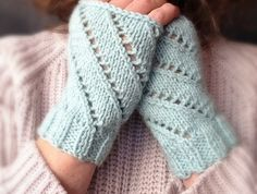 Fingerless Mitts - Blue Poppy