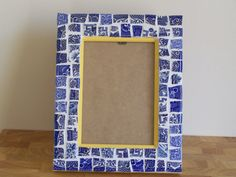 Blue Broken China Mosaic Photo Frame - Classic Blue & White Willow Pattern Patchwork Mosaic