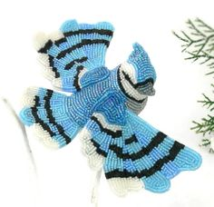 Blue Jay Ornament Beaded Clip On Bird Decoration by MeredithDada
