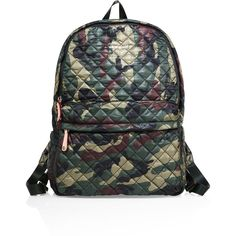 MZ Wallace Metro Camo Quilted Nylon Backpack ($255) ❤ liked on Polyvore featuring bags, backpacks, apparel & accessories, green camo, top handle bags, camo bag, m z wallace, pocket backpack and strap bag
