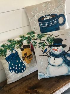 Scarf and Snowman, Winter, Holidays, Christmas, Ha Handmade Pillow Covers, Decorative Pillow Covers, Handmade Pillows, Cover Pillow, Cushion Covers, Christmas Pillow, Christmas Art, Christmas Projects, Christmas Vacation