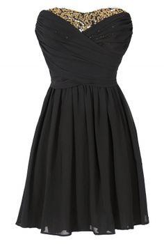Dress To Impress Strapless Chiffon Dress in Black/Gold  www.lilyboutique.com
