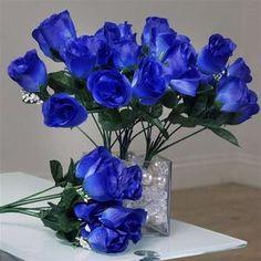 84 Artificial Silk Rose Buds Wedding Flower Bouquet Centerpiece Decor -Royal