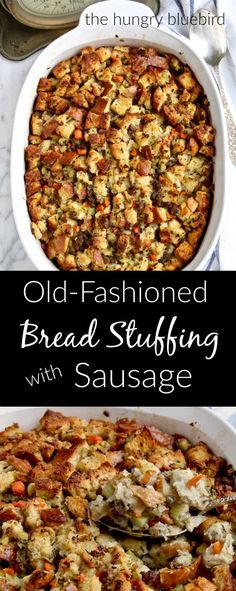 Old-Fashioned Bread Stuffing with Sausage ~ traditional dressing for Thanksgiving Thanksgiving Stuffing, Thanksgiving Sides, Thanksgiving Recipes, Holiday Recipes, Thanksgiving Dressing, Christmas Desserts, Christmas Recipes, Christmas Stuffing, Thanksgiving Fashion