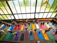 Yoga space with big windows