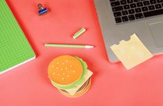 Burger Sticky Notes! These post it notes are so cute! They look just like your favorite cheese burger! Let these fast food notes help you be more organized in your office at your desk!