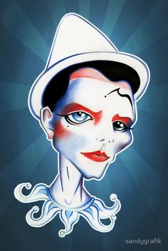 """Pierrot by Sandra Vargas. Sketch inspired by David Bowie's music video """"Ashes to Ashes"""". A little tribute to his music, art and talent."""