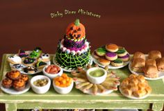 Miniature 112 Scale Food Plate of 4 Halloween by DinkyDinerMinis