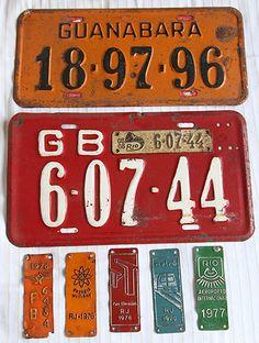 Placas de veículos da Guanabara e plaquetas Anos 60 e 70