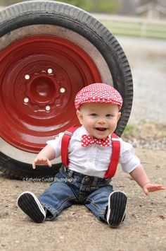 Red polka dot newsboy hat and bow tie set by DAKKO BABY