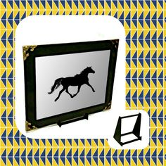 Trotting Horse Engraved Mirror Only Wall Hanger, Adhesive, Horses, Mirror, Frame, Gifts, Stuff To Buy, Picture Frame, Presents