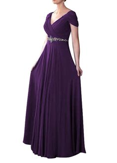 WeiYin Women's Cap Sleeve V-neck Ruched Empire Line Mother of the Bride Dresses Purple US 2
