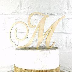 5 Inch Rustic Wedding Cake Topper Monogram Personalized in Any Letter A B C D E F G H I J K L M N O P Q R S T U V W X Y Z