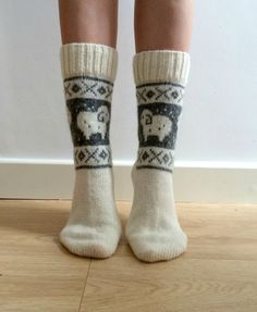 READY TO SHIP White Wool Socks Ram Sheep Christmas Winter Nordic Fair isle £25.00 #folksyfriday