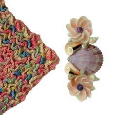 Sailors Valentine Seashell Barrette Vintage by TheMermaidsBox