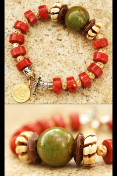 Byodoin Temple Bracelet: Asian-Inspired Red Coral, Green Turquoise & Bone Statement Bracelet Green Turquoise, Red Coral, Turquoise Beads, Turquoise Bracelet, Red Jewelry, Bone Carving, Winter Colors, Collar Necklace, Statement Jewelry