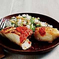 Sautéed Halibut with Romesco Sauce   Roast the peppers in advance and dinner will be ready in just under 20 minutes!