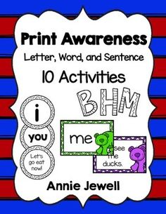 "10 Print Awareness Activities for Beginning of Kindergarten with a focus on letter discrimination; letter, word, and sentence sorts; and ""letters in your name"" activities.1. Color by Letter or Number- Letter discrimination2. Cut, Sort, and Paste Letters, Words, and Sentences.3."