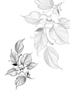 Flower Tattoo Drawings, Tattoo Design Drawings, Tattoo Sketches, Flower Tattoos, Leaf Tattoos, Tatto Floral, Floral Tattoo Design, Mandala Tattoo Design, Flower Tattoo Designs