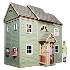 Buy Backyard Discovery Victorian Mansion All Cedar Wooden Playhouse today and have it delivered right to your home! Outside Playhouse, Backyard Playhouse, Build A Playhouse, Playhouse Plans, Wooden Playhouse, Simple Playhouse, Outdoor Playhouses, Luxury Playhouses, White Window Trim