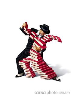 Tango with books     Credit: SMETEK/SCIENCE PHOTO LIBRARY    Caption: Love of books, conceptual image. A man performing the tango with a human-shaped figure constructed from books. This could represent a love of books or other forms of knowledge. This can include activities such as bibliophilia and book collecting, and if taken to extremes is known as bibliomania.