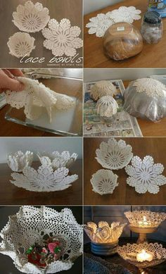 50 Splendid Homemade DIY Lace Crafts to Your Home Décor Mehrere Ideen, um Zimmer mit Spitze zu dekorieren Diy Lace Doily Bowl, Doily Art, Doilies Crafts, Paper Doilies, Paper Lace, Cool Diy Projects, Craft Projects, Home Crafts, Diy And Crafts