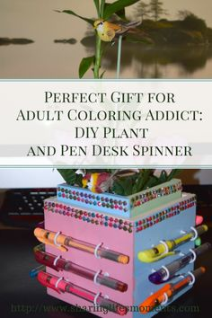 Perfect Gift for Adult Coloring Addict: DIY Plant and Pen Desk Spinner