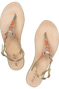 Musa|Swarovski crystal-embellished leather sandals|NET-A-PORTER.COM