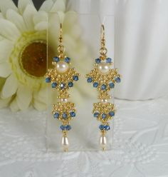 Woven Dangle Earrings with Swarovski Crystal by IndulgedGirl