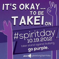 "Join me to stand against bullying by ""going purple"" on Spirit Day 10/19.   Friends, REPIN if you agree bullying in our schools must end. http://glaad.org/spiritday"