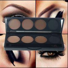Profissional sombra sobrancelha maquiagem 4 cor da sobrancelha pó impermeável duplo end escova make up palette set(China (Mainland))